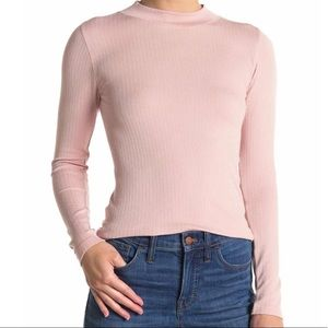 Free People Lindsey Mock Neck Ribbed Top Size M/L